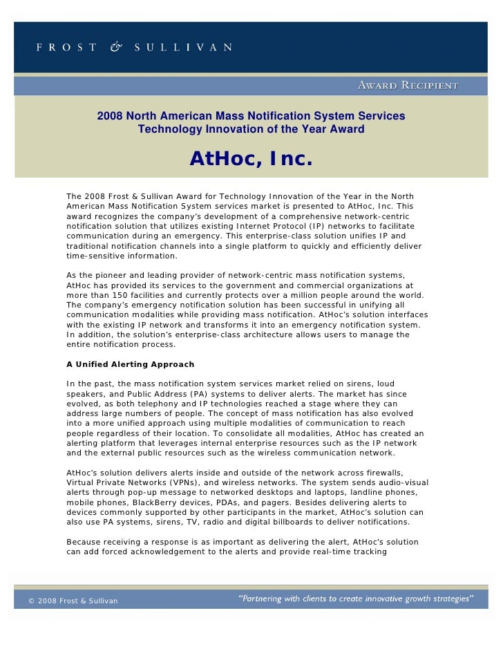 2008 North American Mass Notification System Services                         Technology Innovation of the Year Award     ...