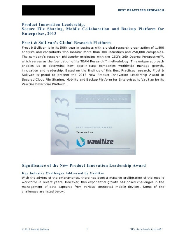 BEST PRACTICES RESEARCH  Product Innovation Leadership,  Secure File Sharing, Mobile Collaboration and Backup Platform for...