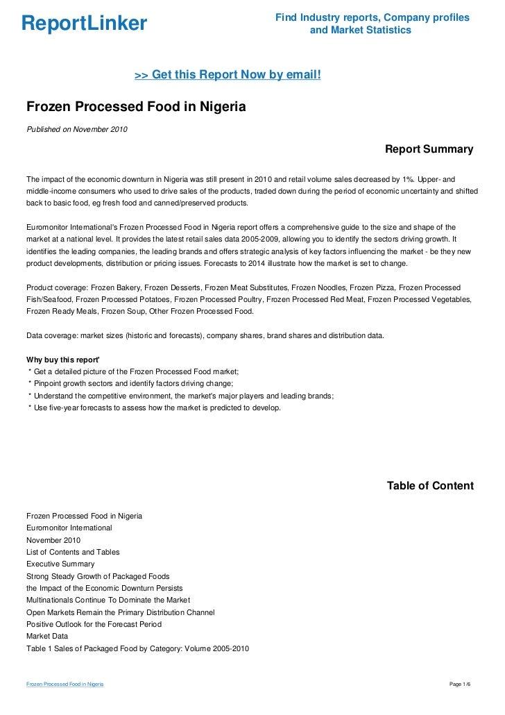 Frozen foods business plan in nigeria lagos