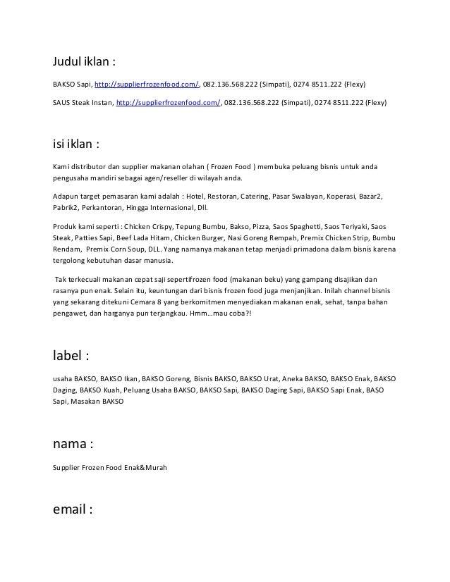 Judul iklan :BAKSO Sapi, http://supplierfrozenfood.com/, 082.136.568.222 (Simpati), 0274 8511.222 (Flexy)SAUS Steak Instan...