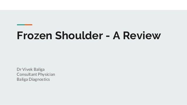 Frozen Shoulder - A Review Dr Vivek Baliga Consultant Physician Baliga Diagnostics