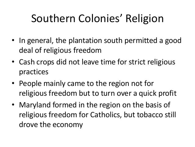 Religions of the southern colonies