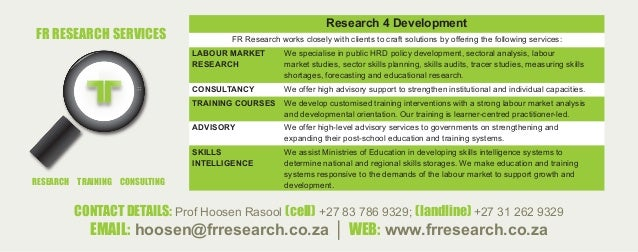 CONTACT DETAILS: Prof Hoosen Rasool (cell) +27 83 786 9329; (landline) +27 31 262 9329 EMAIL: hoosen@frresearch.co.za │ WE...