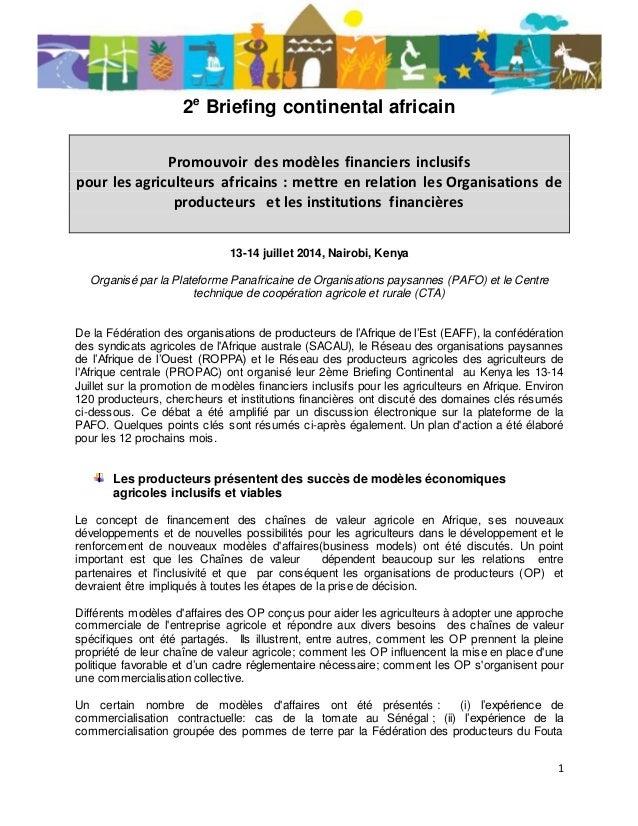 1 2e Briefing continental africain Promouvoir des modèles financiers inclusifs pour les agriculteurs africains : mettre en...