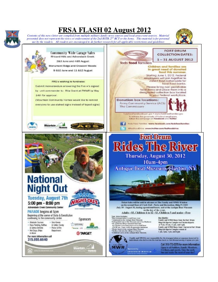 FRSA FLASH 02 August 2012Contents of this news letter are compiled from multiple military family news sources and local ar...