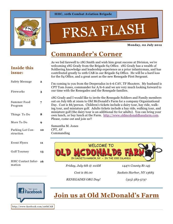 HHC, 10th Combat Aviation Brigade                                      FRSA FLASH                                         ...