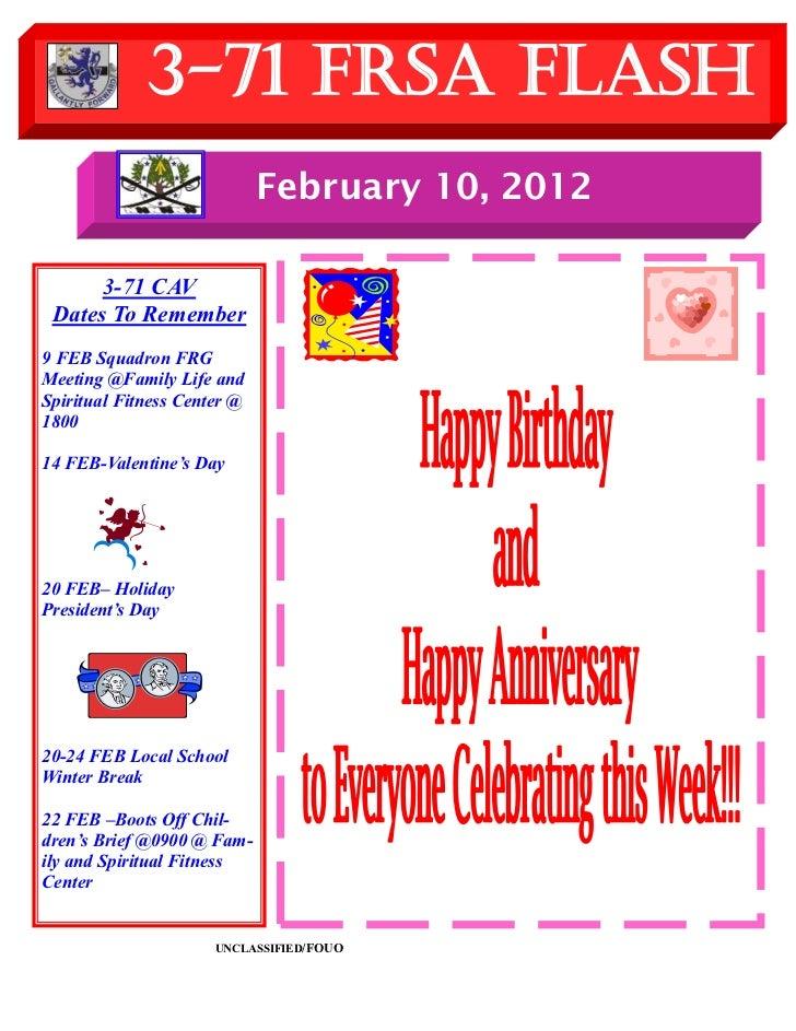 3-71 FRSA Flash                             February 10, 2012      3-71 CAV Dates To Remember9 FEB Squadron FRGMeeting @Fa...