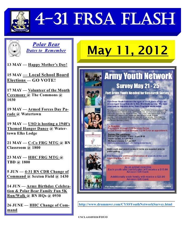 4-31 FRSA Flash            Polar Bear         Dates to Remember                                        May 11, 201213 MAY ...