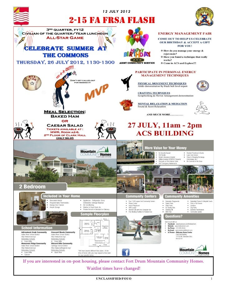 12 JU LY 2012                       2-15 FA FRSA FLASHIf you are interested in on-post housing, please contact Fort Drum M...