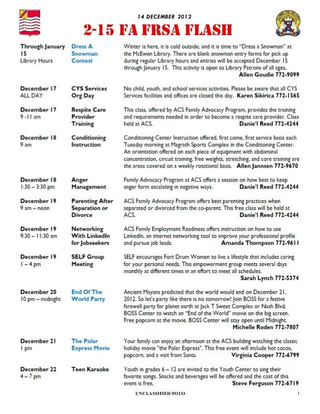 14 D EC EMBER 20122-15 FA FRSA FLASH      UNCLASSIFIED/FOUO    1
