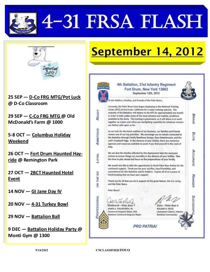 4-31 FRSA Flash    DATES TO REMEMBER                                    September 14, 201225 SEP — D-Co FRG MTG/Pot Luck@ ...