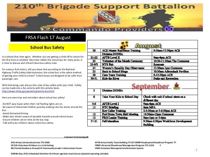 FRSA Flash 17 August                           School Bus SafetyIt is almost that time again. Whether you are getting a ch...