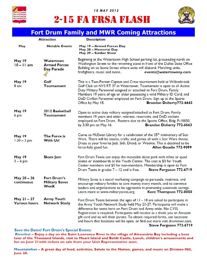 18 MAY 2012      2-15 FA FRSA FLASHFort Drum Family and MWR Coming Attractions