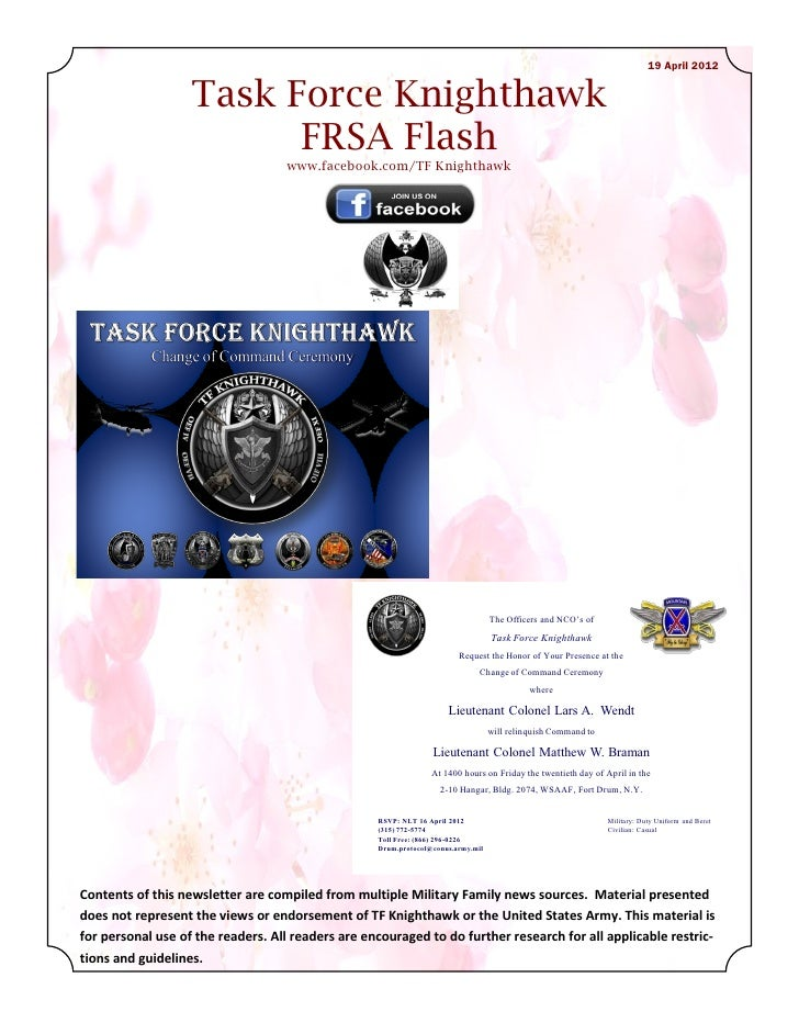 19 April 2012                   Task Force Knighthawk                         FRSA Flash                                  ...