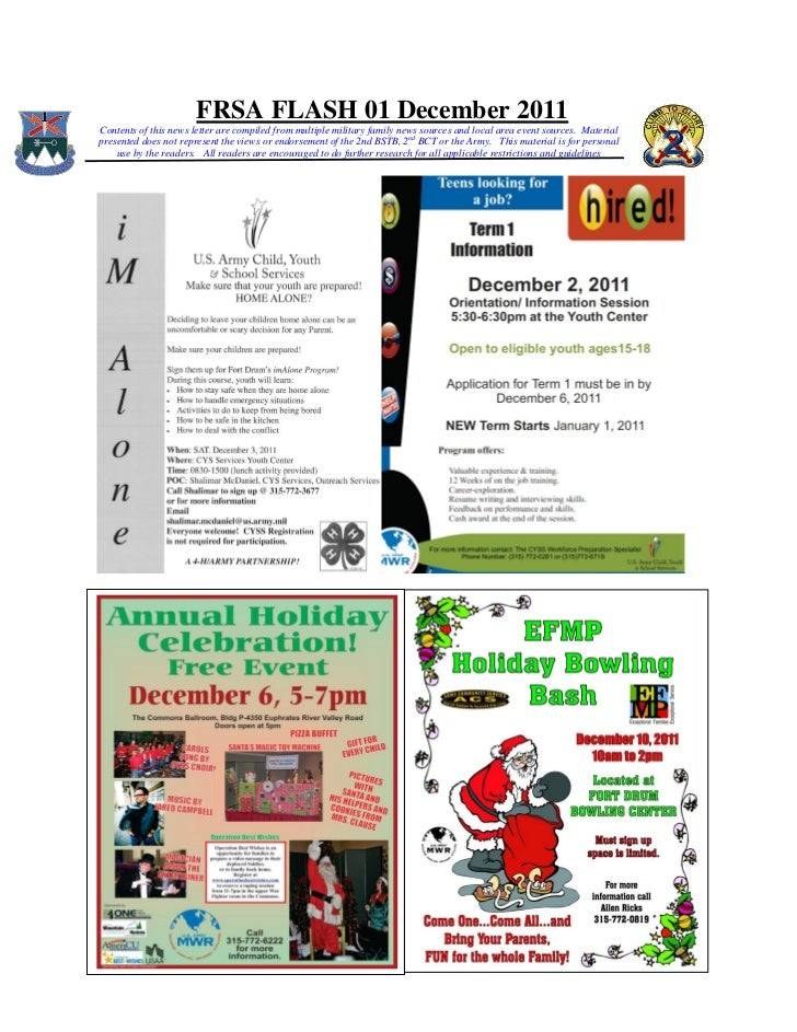 FRSA FLASH 01 December 2011Contents of this news letter are compiled from multiple military family news sources and local ...