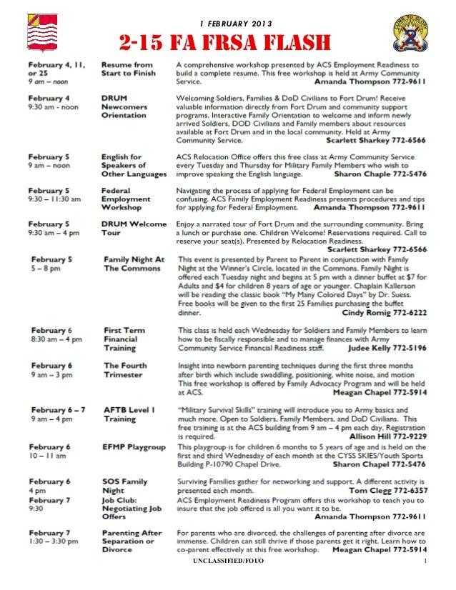 1 FEBRU ARY 20132-15 FA FRSA FLASH      UNCLASSIFIED/FOUO   1