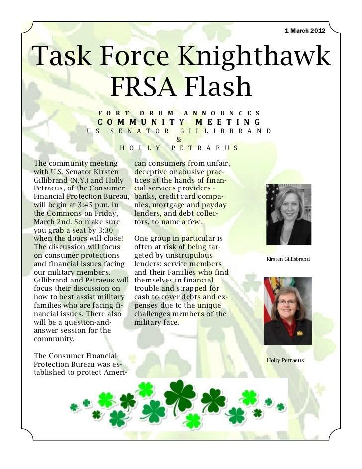 1 March 2012Task Force Knighthawk      FRSA Flash                  F O R T       D R U M      A N N O U N C E S           ...