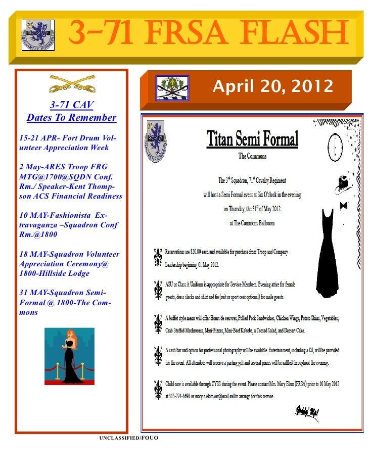 3-71 FRSA Flash                                        April 20, 2012      3-71 CAV Dates To Remember15-21 APR- Fort Drum ...