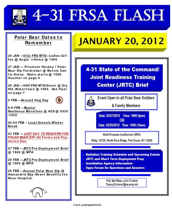 4-31 FRSA Flash     Polar Be ar Dat e s t o         Re m e m b e r                              JANUARY 20, 20122 0 JAN —D...