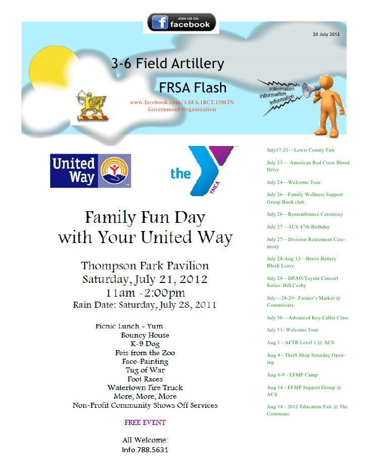 20 July 20123-6 Field Artillery            FRSA Flash   www.facebook.com/3.6FA.1BCT.10MTN        Government Organization  ...