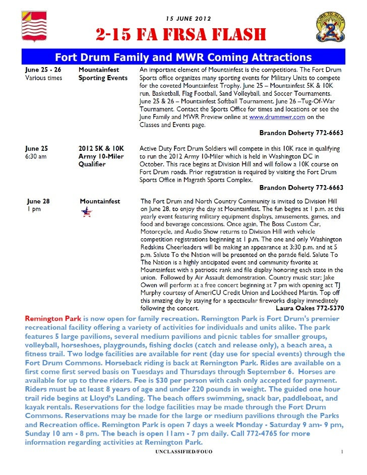 15 JU NE 2012      2-15 FA FRSA FLASHFort Drum Family and MWR Coming Attractions                UNCLASSIFIED/FOUO         ...