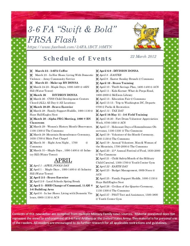"3-6 FA ""Swift & Bold"" FRSA Flash https://www.facebook.com/3.6FA.1BCT.10MTN Sc h e du l e o f E v en t s March 22 - 3-6FA..."