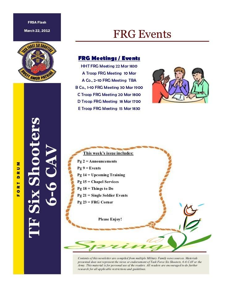 FRSA Flash                                                          FRG Events            March 22, 2012                  ...