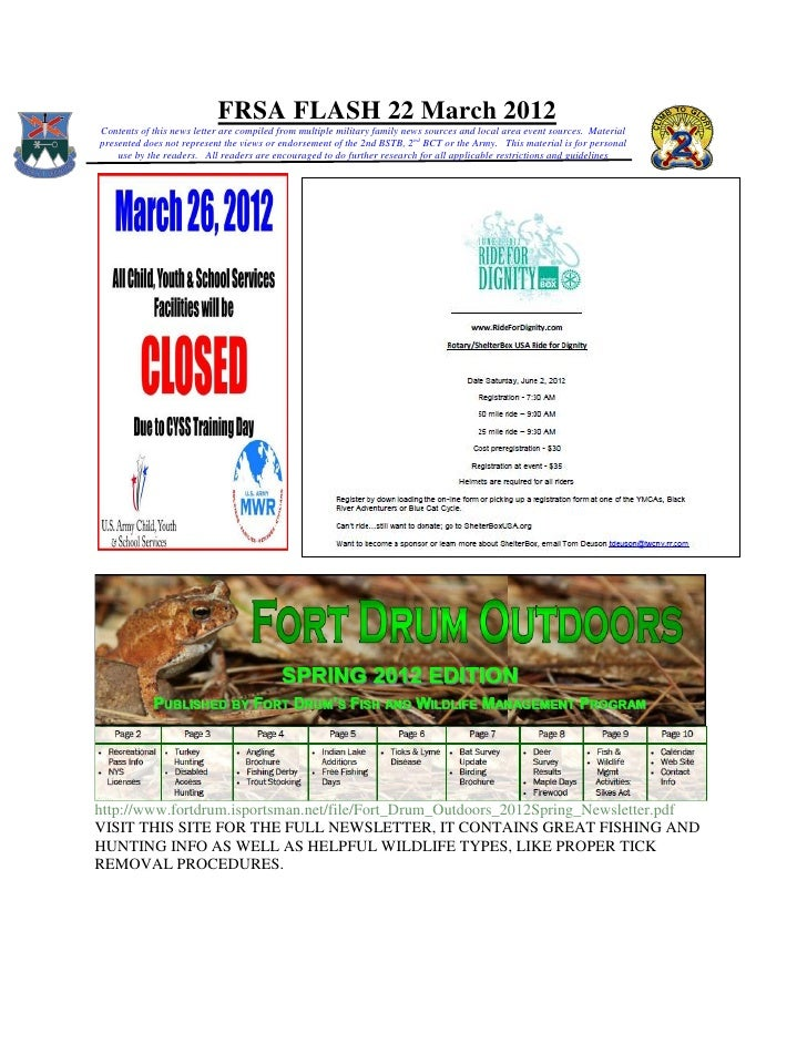 FRSA FLASH 22 March 2012Contents of this news letter are compiled from multiple military family news sources and local are...