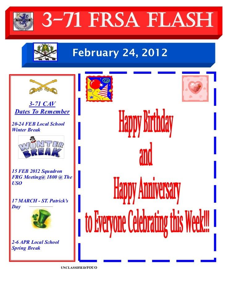 3-71 FRSA Flash                            February 24, 2012      3-71 CAV Dates To Remember20-24 FEB Local SchoolWinter B...