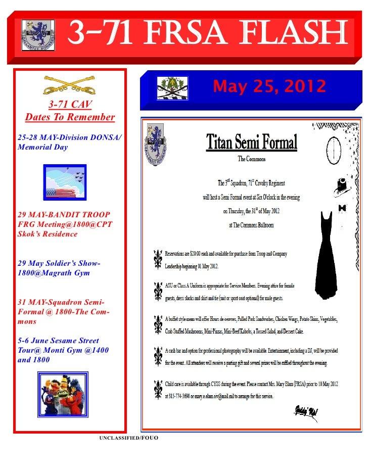 3-71 FRSA Flash                                         May 25, 2012      3-71 CAV Dates To Remember25-28 MAY-Division DON...