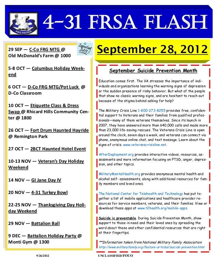 4-31 FRSA Flash29 SEP — C-Co FRG MTG @    DATES TO REMEMBEROld McDonald's Farm @ 1000                                     ...