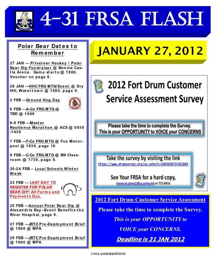 4-31 FRSA Flash     Polar Be ar Dat e s t o         Re m e m b e r                              JANUARY 27, 20122 7 JAN — ...