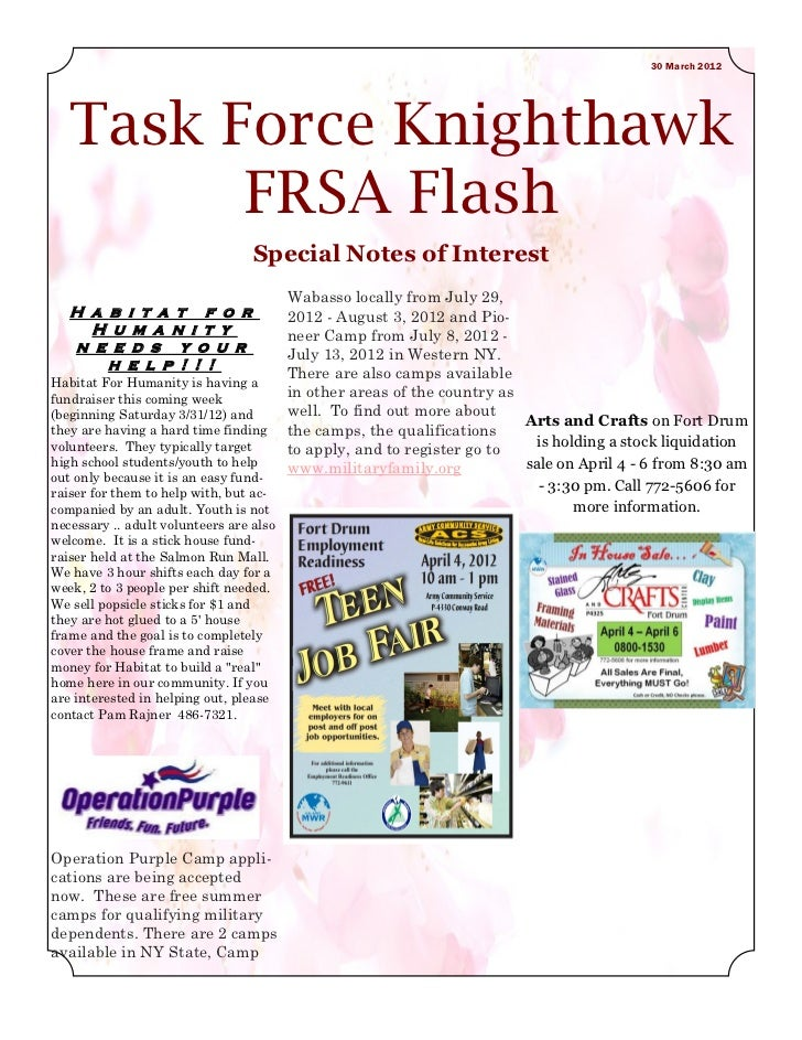 30 March 2012   Task Force Knighthawk         FRSA Flash                                  Special Notes of Interest       ...
