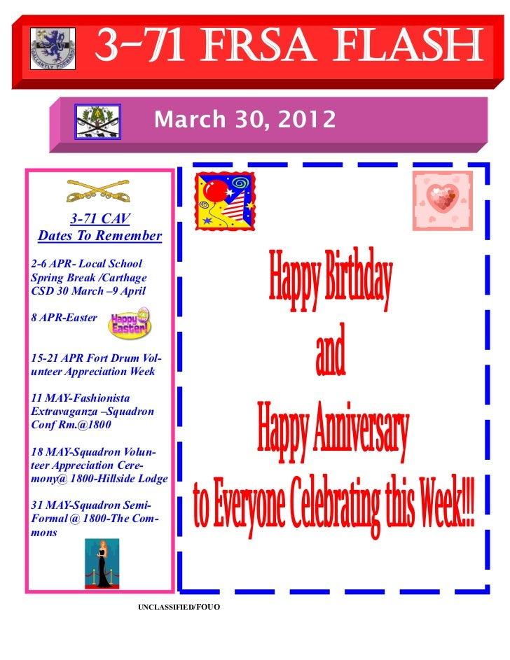 3-71 FRSA Flash                         March 30, 2012      3-71 CAV Dates To Remember2-6 APR- Local SchoolSpring Break /C...