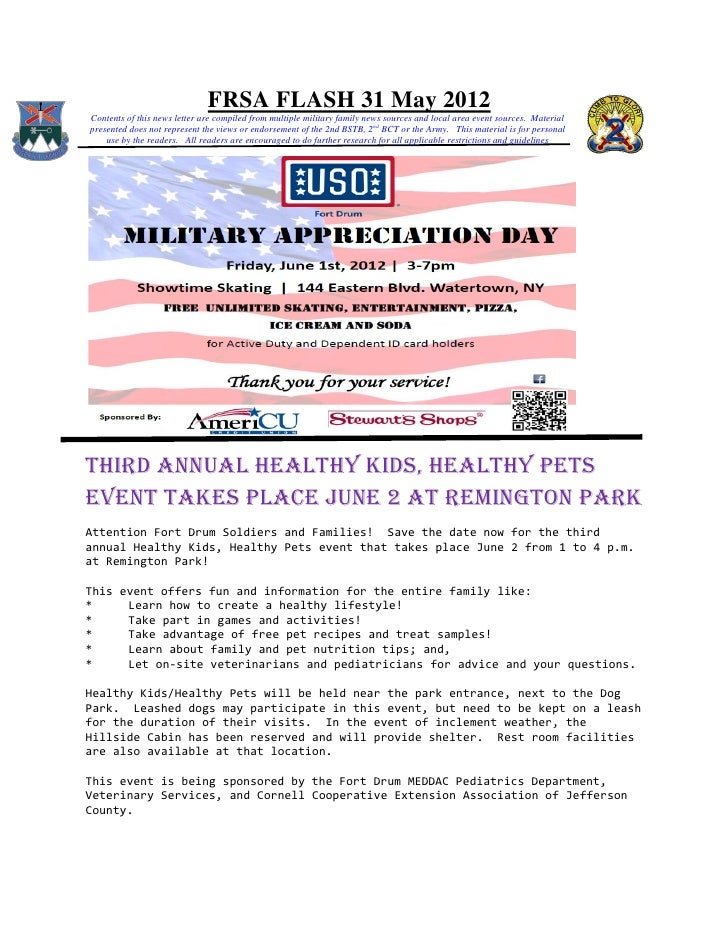 FRSA FLASH 31 May 2012Contents of this news letter are compiled from multiple military family news sources and local area ...