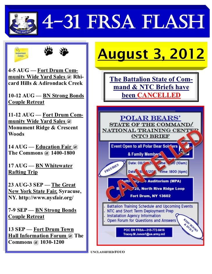 4-31 FRSA Flash                                    August 3, 20124-5 AUG — Fort Drum Com-munity Wide Yard Sales @ Rhi-card...