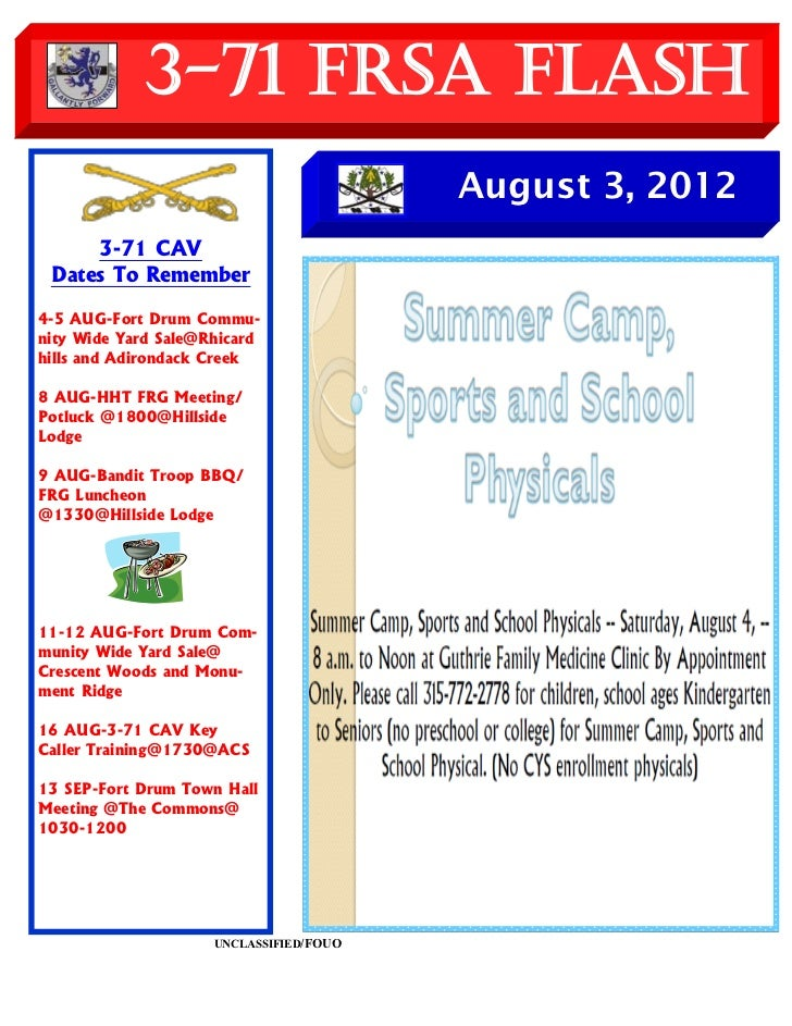 3-71 FRSA Flash                                         August 3, 2012     3-71 CAV Dates To Remember4-5 AUG-Fort Drum Com...