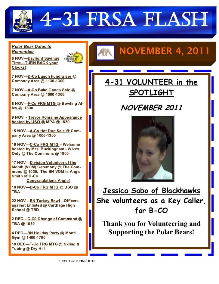 4-31 FRSA FlashPolar Bear Dates toRemember                                        NOVEMBER 4, 20116 NOV—Daylight SavingsTi...