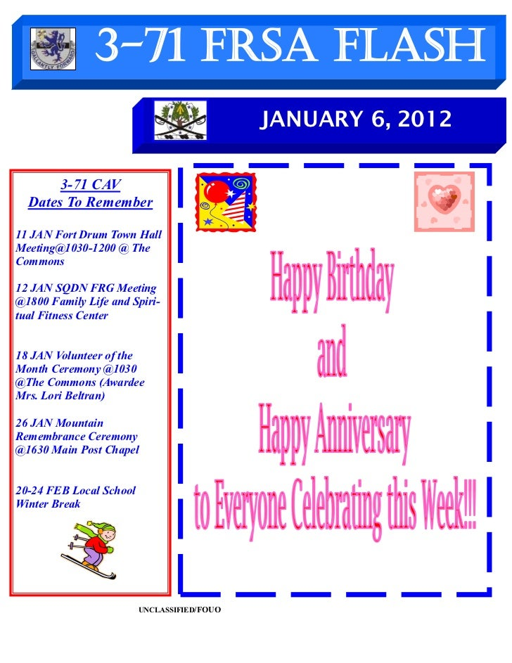 3-71 FRSA Flash                                             JANUARY 6, 2012       3-71 CAV  Dates To Remember11 JAN Fort D...