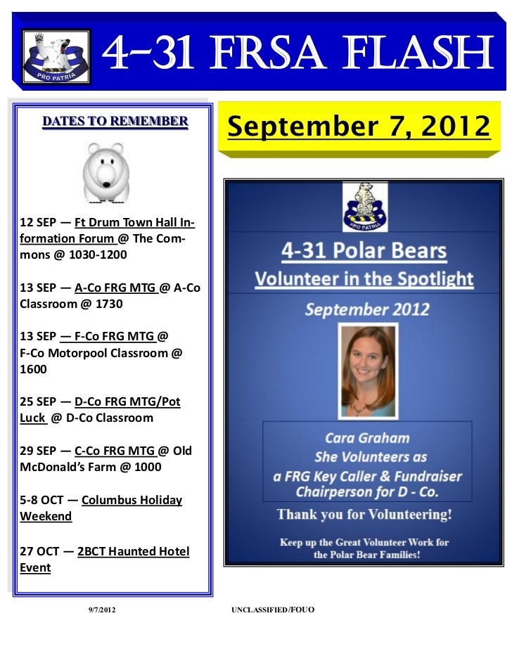 4-31 FRSA Flash   DATES TO REMEMBER                                 September 7, 201212 SEP — Ft Drum Town Hall In-formati...
