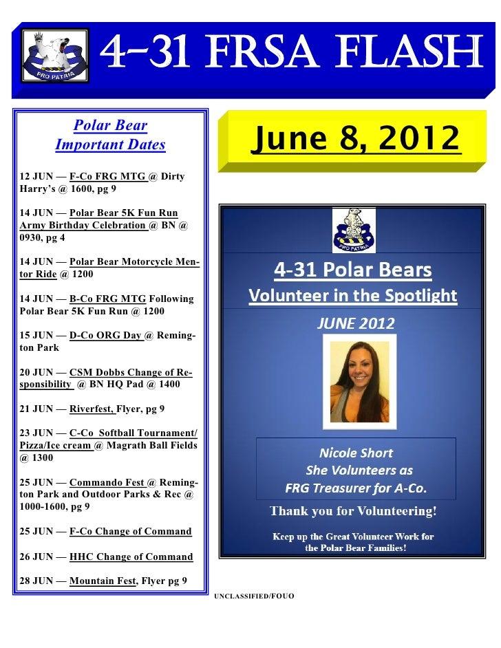 4-31 FRSA Flash         Polar Bear       Important Dates                          June 8, 201212 JUN — F-Co FRG MTG @ Dirt...
