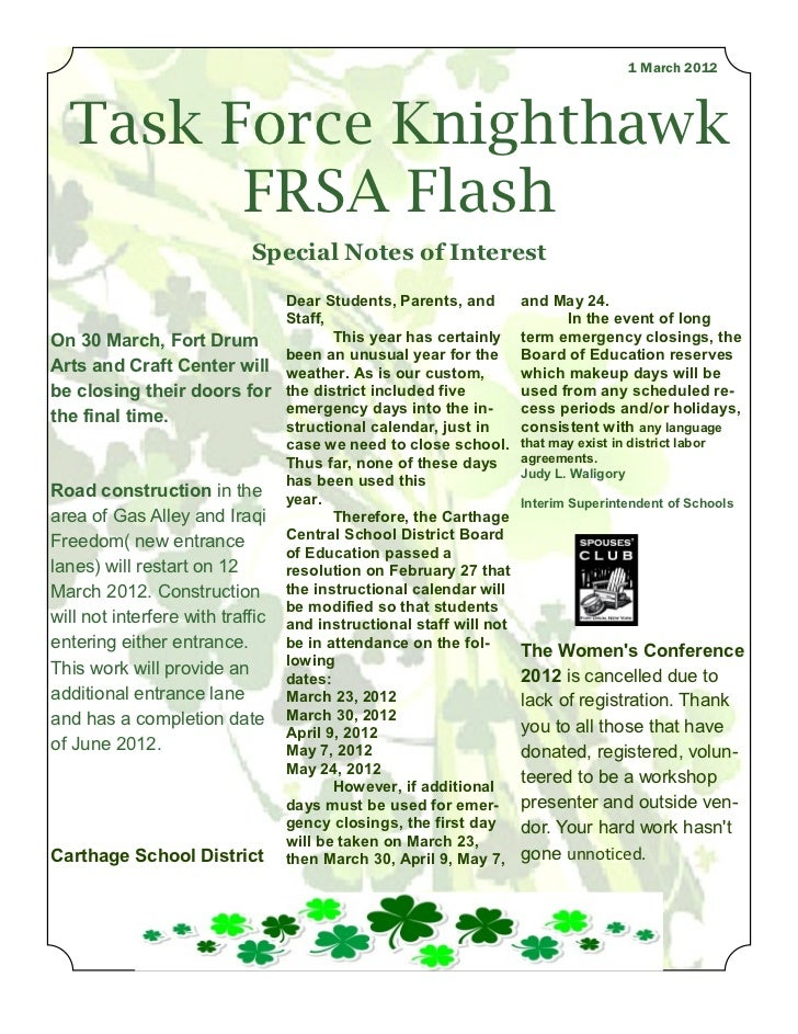 1 March 2012  Task Force Knighthawk        FRSA Flash                           Special Notes of Interest                 ...