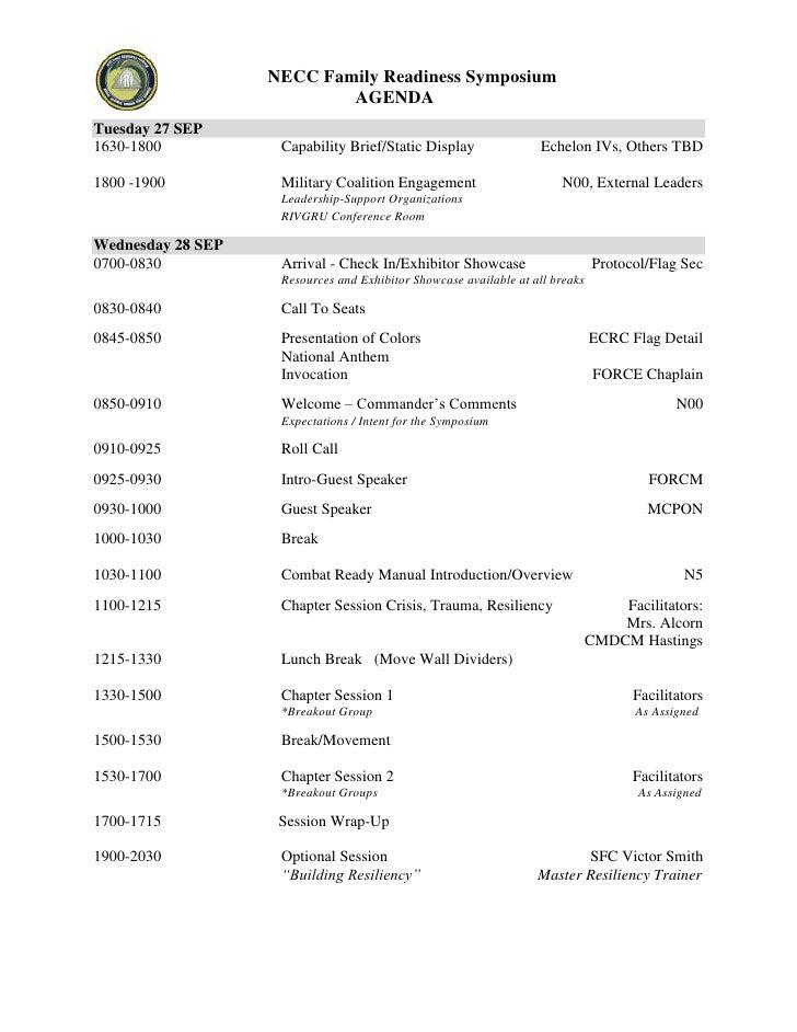 left-157480NECC Family Readiness Symposium<br />AGENDA <br />Tuesday 27 SEP<br />1630-1800 Capability Brief/Static Display...