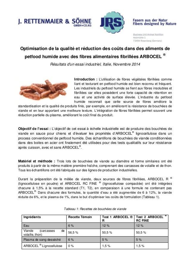 Optimisation de la qualité et réduction des coûts dans des aliments de petfood humide avec des fibres alimentaires fibrill...