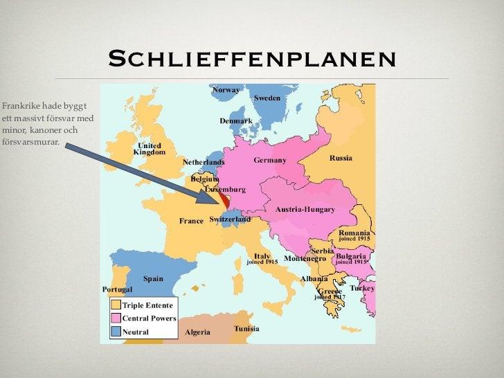 SchlieffenplanenFrankrike hade byggtett massivt försvar medminor, kanoner ochförsvarsmurar.