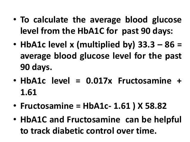 Fructosamine and hg a1c