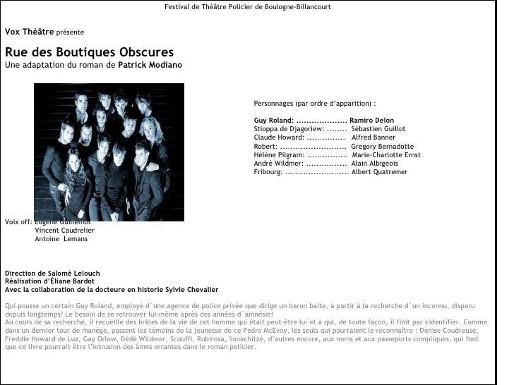 Festival de Théâtre Policier de Boulogne-Billancourt Vox Théâtre  présente Rue des Boutiques Obscures Une adaptation du ro...