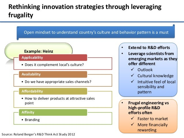 Rethinking innovation strategies through leveraging    frugality              Open mindset to understand country's culture...