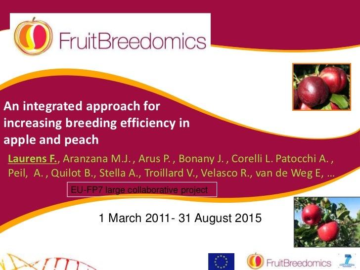 An integrated approach forincreasing breeding efficiency inapple and peachLaurens F., Aranzana M.J. , Arus P. , Bonany J. ...