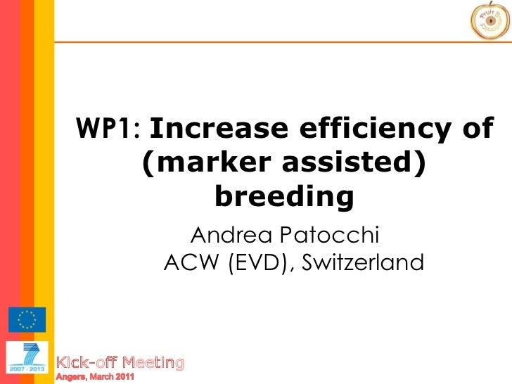 WP1:  Increase efficiency of (marker assisted) breeding Andrea Patocchi ACW (EVD), Switzerland